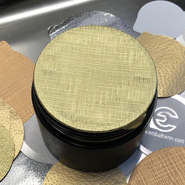 opercule base alu couleur or gaufrage toile